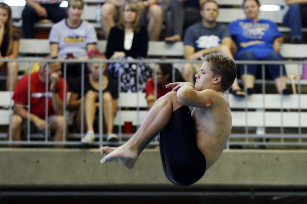 Conner Wattles, of Palo Verde High School, competes in the Class 4A Sunset Region diving competition at UNLV's Buchanan Natatorium in Las Vegas on Monday, May 7, 2018. Andrea Cornejo Las Vegas Rev ...