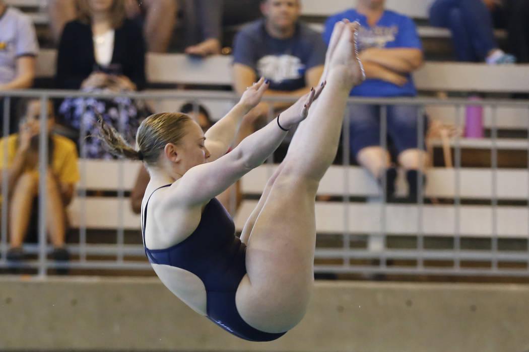 Alexis Edmonds, of Coronado High School, competes in the Class 4A Sunrise Region diving competition at UNLV's Buchanan Natatorium in Las Vegas on Monday, May 7, 2018. Andrea Cornejo Las Vegas Revi ...