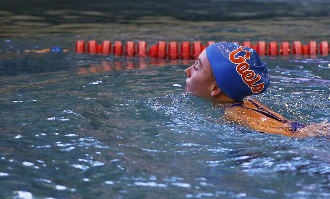 Olivia Gordon, of Bishop Gorman High School, swims back towards the edge of the pool after competing in the Class 4A Sunset Region diving competition at UNLV's Buchanan Natatorium in Las Vegas on ...