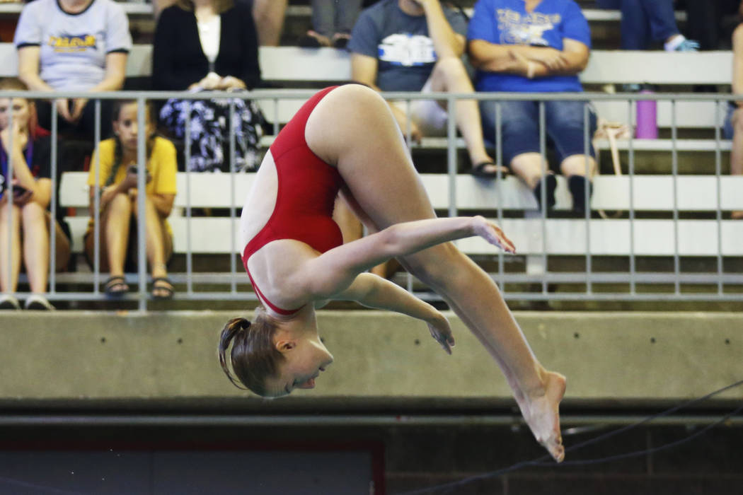 Elle Renner, of Tech, competes in the Class 3A Southern Region diving competition at UNLV's Buchanan Natatorium in Las Vegas on Monday, May 7, 2018. Andrea Cornejo Las Vegas Review-Journal @dreaco ...