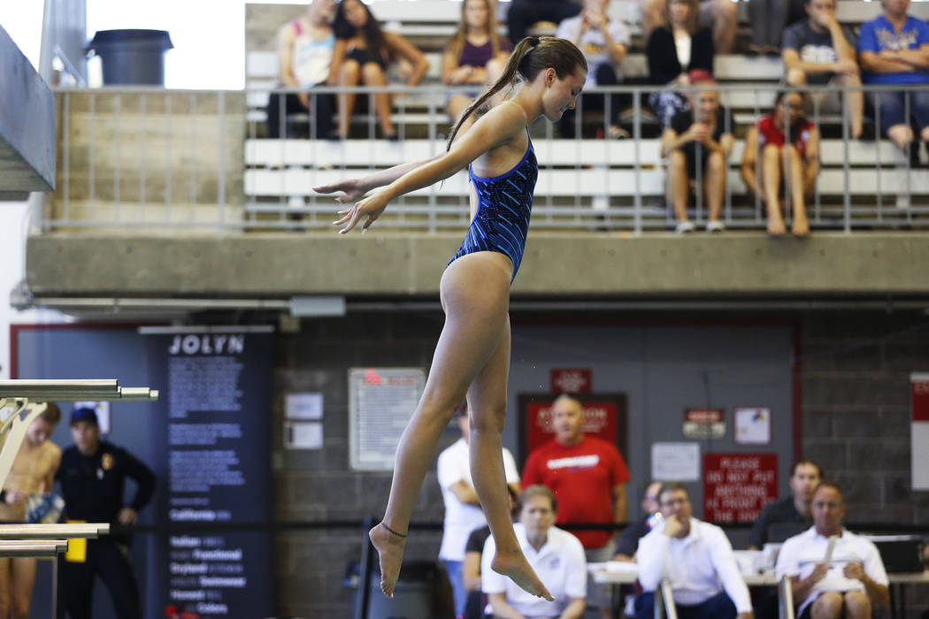 Taylor Moore, of Foothill High School, competes in the Class 4A Sunrise diving competition at UNLV's Buchanan Natatorium in Las Vegas on Monday, May 7, 2018. Andrea Cornejo Las Vegas Review-Journa ...