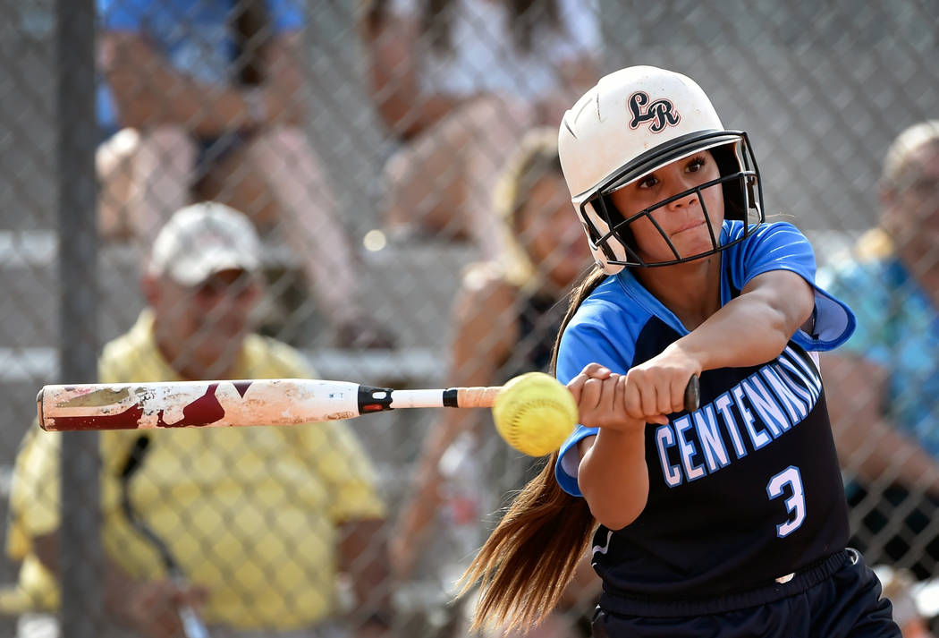 Centennial's Natasha Lawrence swings for the ball against Durango during a high school softball game at Durango High School Tuesday, May 8, 2018, in Las Vegas. Centennial won 12-0. David Becker/La ...
