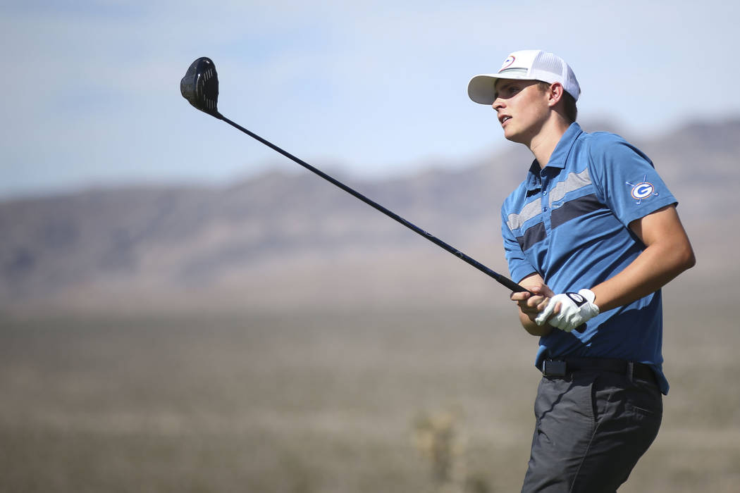 Bishop Gorman's Mitchell Abbott watches his shot during the Class 4A Sunset Region tournament at Las Vegas Paiute Golf Resort in Las Vegas on Wednesday, May 9, 2018. Chase Stevens Las Vegas Review ...