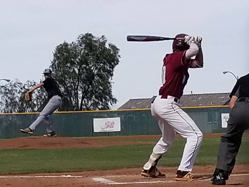 Palo Verde starer Bryce Robison fires a pitch to Desert Oasis' Cole Schaefer in the first inning on Wednesday, May 9, 2018 at Desert Oasis. Robison allowed four hits and fanned nine in six innings ...