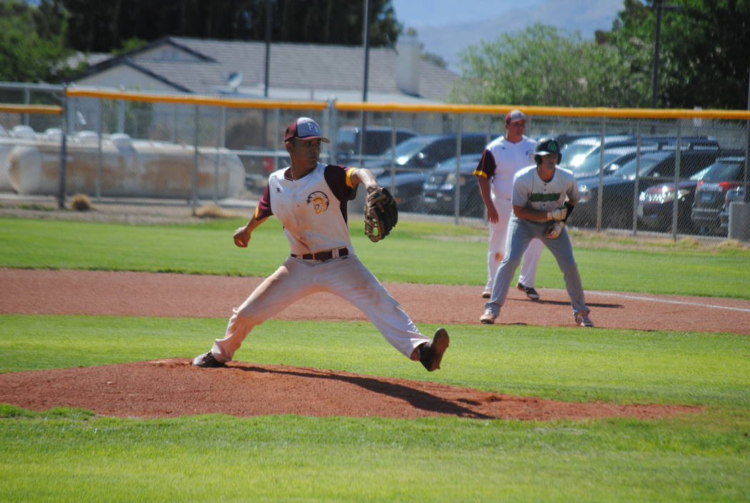 Pahrump Valley pitcher Bradda Costa picked up the win in a 7-6 victory over Virgin Valley on Thursday, May 9, 2018. (Courtesy Charlotte Uyeno)