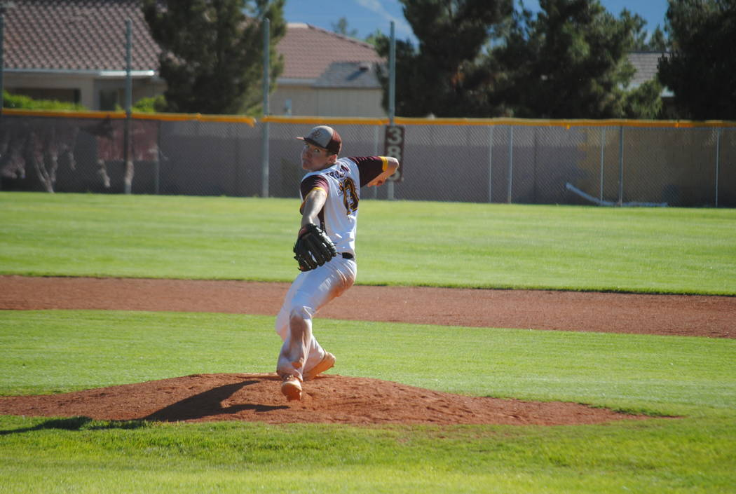Pahrump Valley's Cyle Havel pitches in a 7-6 victory over Virgin Valley on Thursday, May 9, 2018. (Courtesy Charlotte Uyeno)
