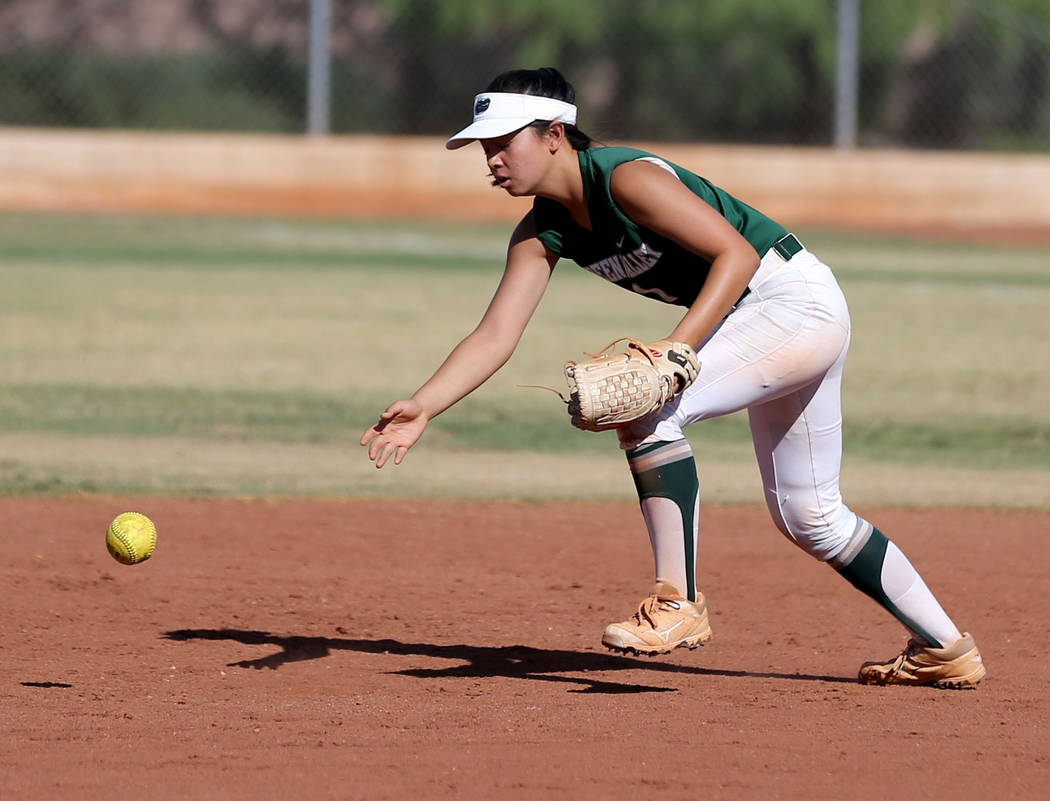 Green Valley infielder Katrina Ramos (1) bobbles the ball in the second inning of a softball game against Coronado at Coronado High School Wednesday, May 9, 2018. K.M. Cannon Las Vegas Review-Jour ...