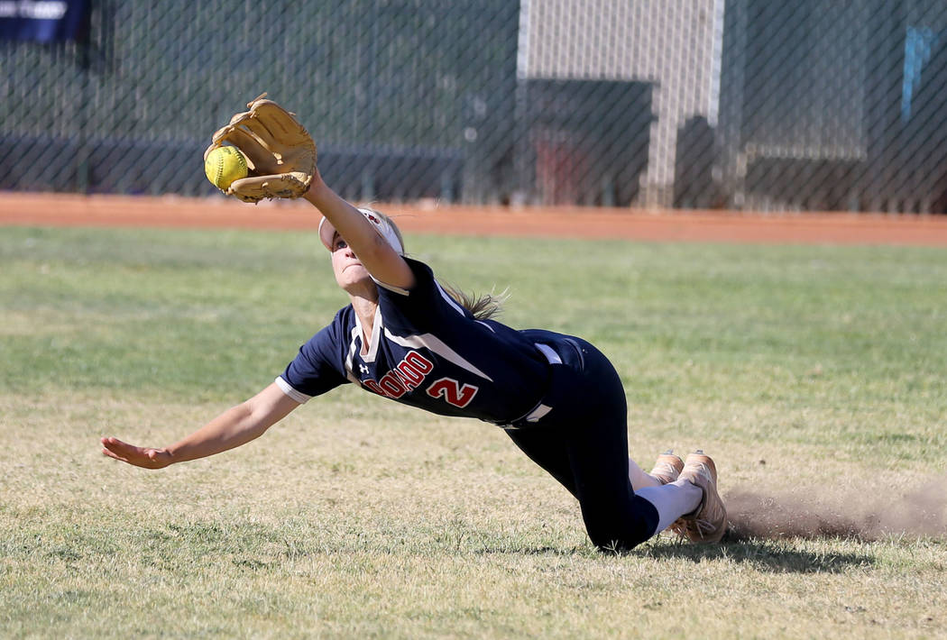 Coronado Veronica Jarchow (2) comes up short on a fly ball in the third inning of a softball game against Green Valley at Coronado High School Wednesday, May 9, 2018. K.M. Cannon Las Vegas Review- ...