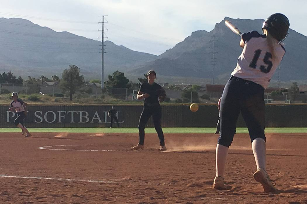 Palo Verde's Taylor Askland pitches to Shadow Ridge's Mia Voges in a Sunset Region postseason softball game at Palo Verde High School in Las Vegas, May 10, 2018. Justin Emerson/Las Vegas Review-Jo ...