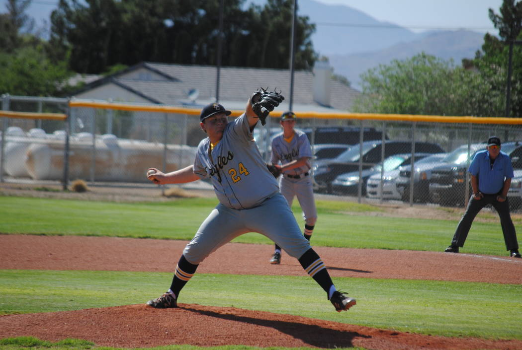 Boulder City's Nolan Herr pitches agaisnt Pahrump Valley on Thursday, May 10, 2018. (Courtesy Charlotte Uyeno)