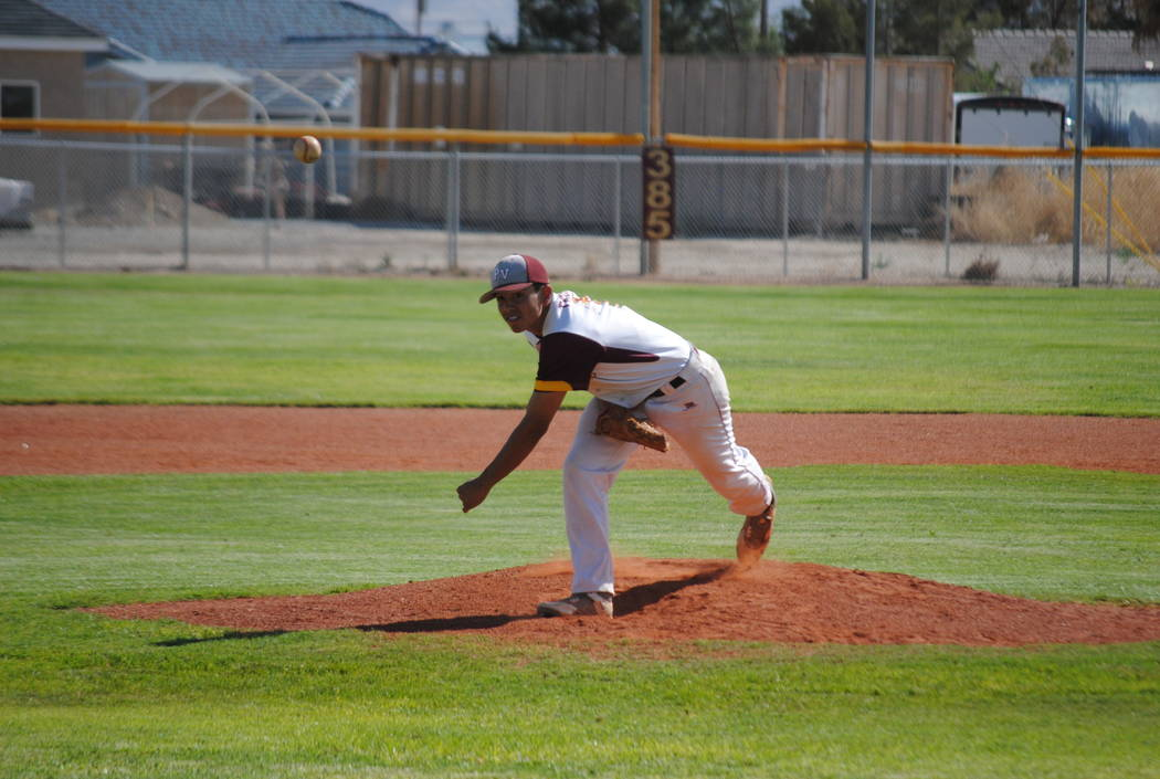 Pahrump Valley starter Jalen Denton fires a pitch on Thursday, May 10, 2018. (Courtesy Charlotte Uyeno)