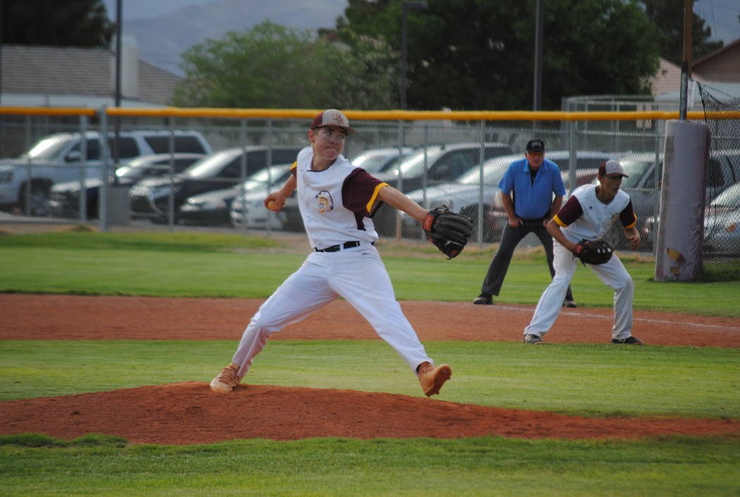 Pahrump Valley's Cyle Havel pitches against Boulder City on Thursday, May 10, 2018. (Courtesy Charlotte Uyeno)