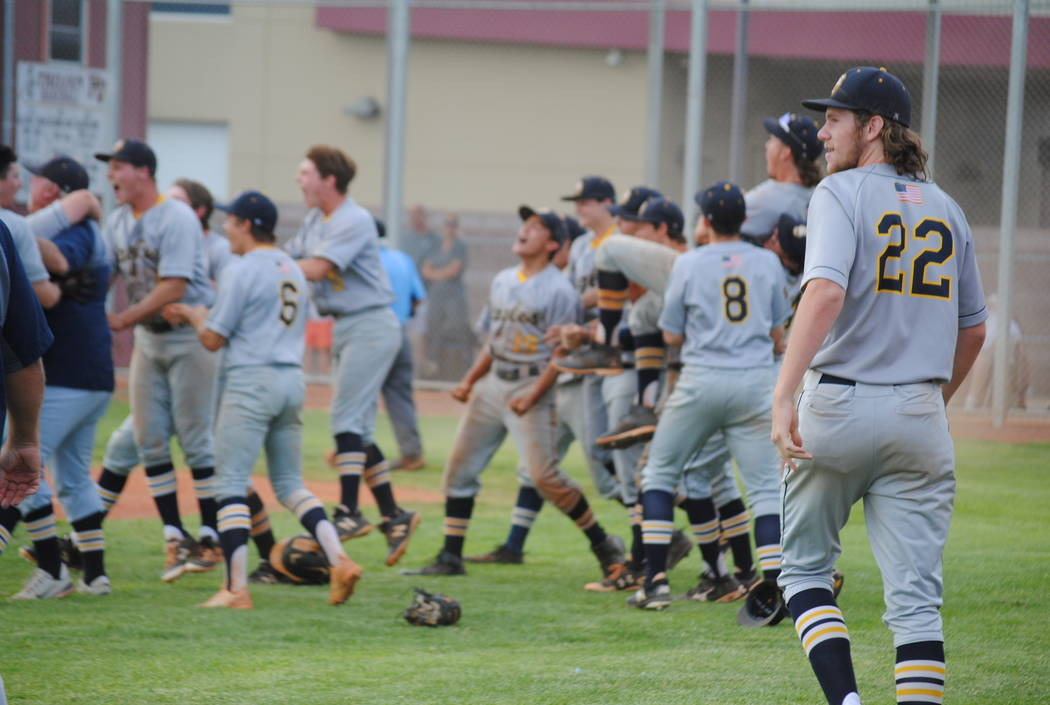Boulder City celebrates its 4-3 come-from-behind victory over Pahrump Valley on Thursday, May 10, 2018. (Courtesy Charlotte Uyeno)