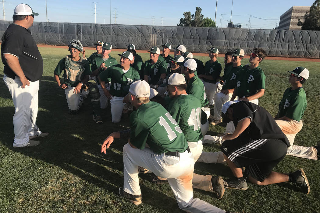 Palo Verde players meet with coach Joe Hallead after their 6-4 victory over Bishop Gorman in the Sunset Region tournament at Shadow Ridge High School on Friday. Sam Gordon/Review-Journal