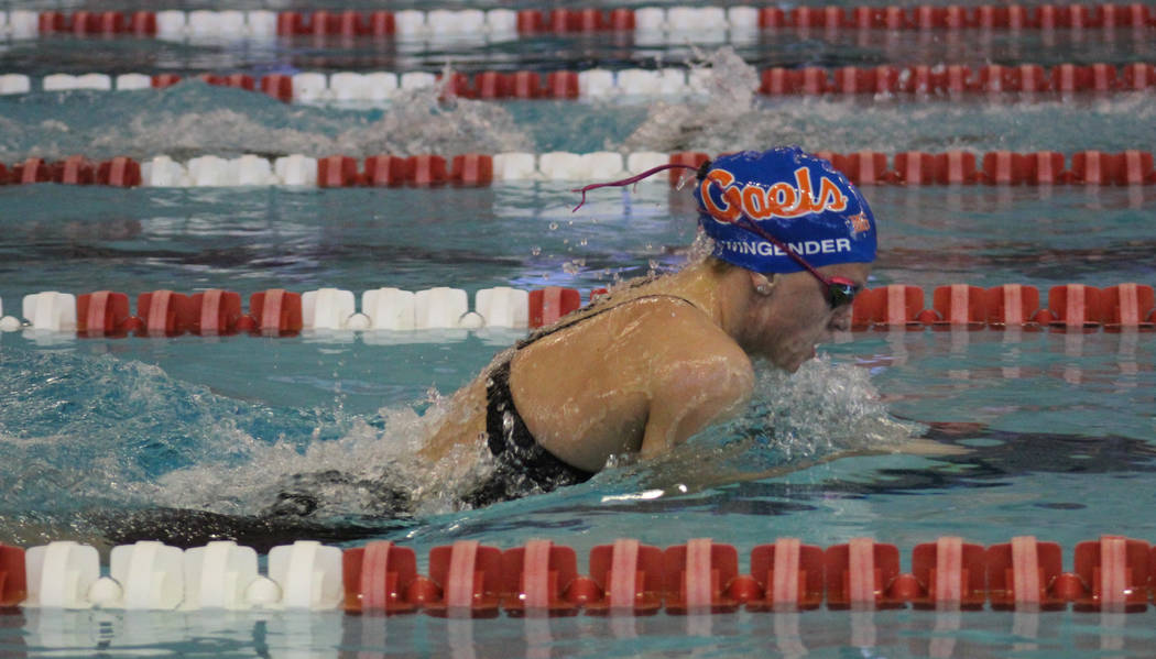 Bishop Gorman's Devyn Wingender competes in the 200-yard medley relay at the Class 4A Sunset Region meet at UNLV on Friday, May 11, 2018. (Tim Guesman/Las Vegas Review-Journal)