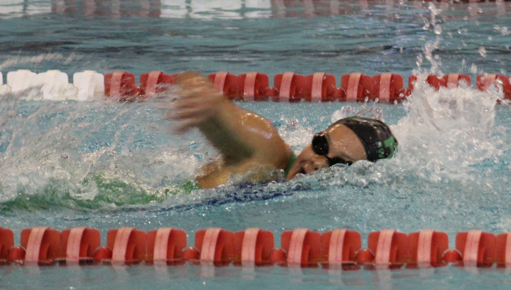 Rancho's Astrid Villeda competes in the 200-yard freestlye at the Class 4A Sunrise Region meet at UNLV on Friday, May 11, 2018. (Tim Guesman/Las Vegas Review-Journal)