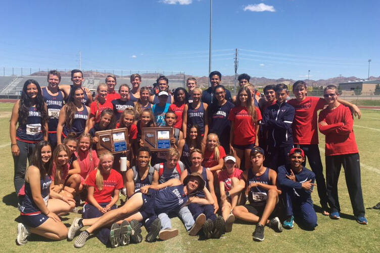 Coronado's boys and girls track teams pose with their Sunrise Region championship trophies. (Courtesy Coronado)
