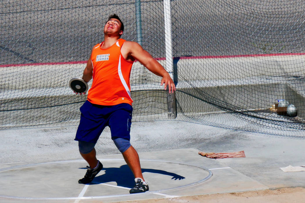 Bishop Gorman senior Jacob Isaia prepares to throw the discus in the Sunset Region track meet on Saturday at Basic High School. (Courtesy Brian Davidson)