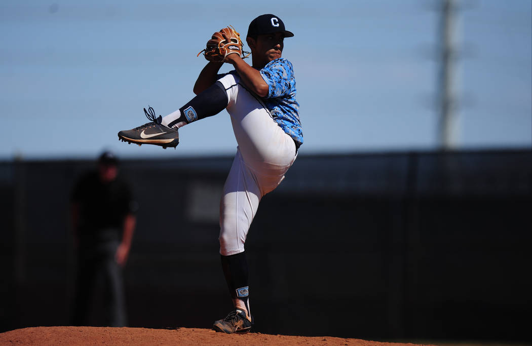 Centennial starting pitcher Nate Martin delivers to Palo Verde during the 2018 NIAA Class 4A Sunset Region Championship game at Shadow Ridge High School in North Las Vegas, Saturday, May 12, 2018 ...