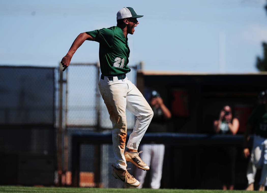 Palo Verde relief pitcher Jaret Godman reacts after striking out the Centennial Bulldogs to end the 2018 NIAA Class 4A Sunset Region Championship game at Shadow Ridge High School in North Las Veg ...