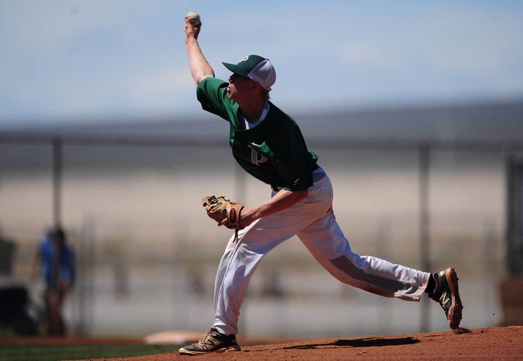 Palo Verde starting pitcher Bryce Robison delivers to Centennial during the 2018 NIAA Class 4A Sunset Region Championship game at Shadow Ridge High School in North Las Vegas, Saturday, May 12, 20 ...