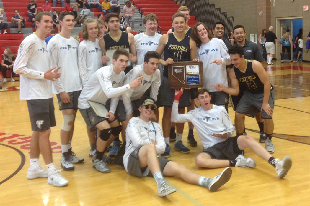 Foothill's boys volleyball team poses with the Class 4A Sunrise Region championship trophy on Saturday, May 12, 2018 at Arbor Veiw High School. (Robert Horne/Las Vegas Review-Journal)