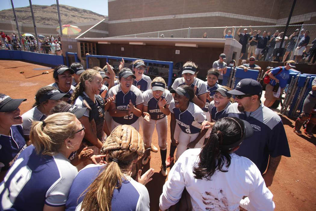 The Shadow Ridge Girls Softball team celebrates their win over Palo Verde to clinch the 2018 NIAA Class 4A Sunset Region championship at Bishop Gorman High School on Saturday, May 12, 2018. Michae ...