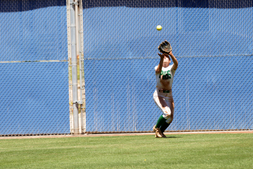 Palo Verde outfielder Makall Whetten (1) grabs a fly ball hit by Shadow Ridge Mustang, Raelyn Kendall (2) during the 2018 NIAA Class 4A Sunset Region championship at Bishop Gorman High School on S ...