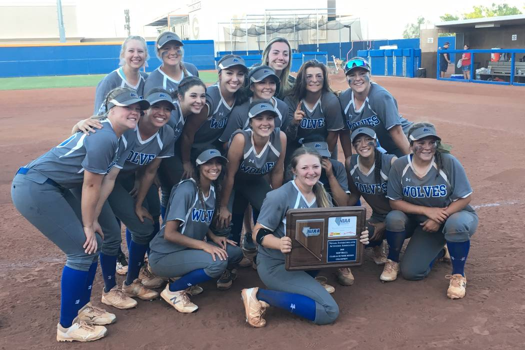 Basic's softball team poses with the Sunrise Region trophy after beating Coronado 15-12 at Bishop Gorman High School in Las Vegas on May 12, 2018. Justin Emerson/Las Vegas Review-Journal.