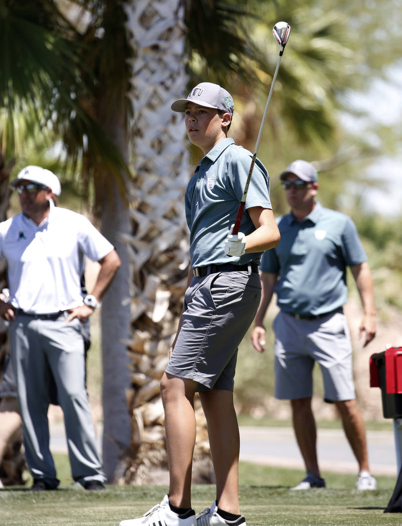 Palo Verde High's Michael Salerno watches his tee drive during the 2018 NIAA 4A State boys golf tournament at Reflection Bay Golf Club on Monday, May 14, 2018, in Henderson. Bizuayehu Tesfaye/Las ...