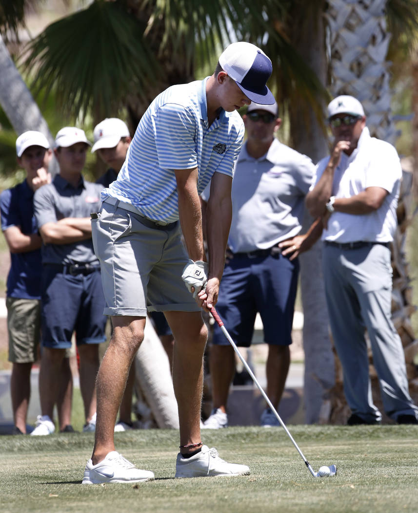 Centennial High's Cole Thompson prepares to hit his tee drive during the 2018 NIAA 4A State boys golf tournament at Reflection Bay Golf Club on Monday, May 14, 2018, in Henderson. Bizuayehu Tesfay ...
