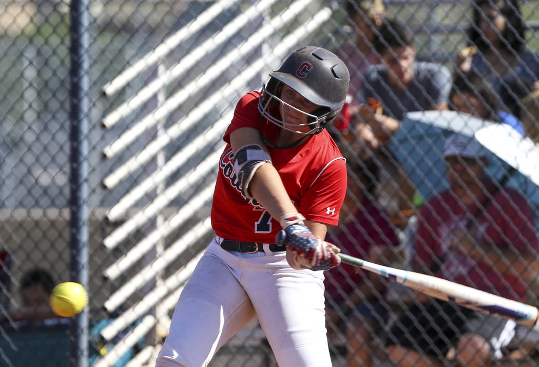 Coronado's Ashley Ward bats against Basic during a softball game at Coronado High School in Henderson on Friday, April 27, 2018. Richard Brian Las Vegas Review-Journal @vegasphotograph