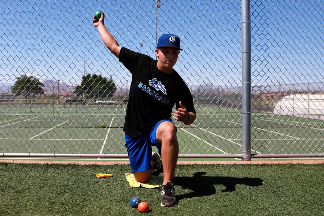 Basic's C.J. Dornak warms up during baseball practice at Basic High School in Henderson, Nevada on Tuesday, May 15, 2018. Andrea Cornejo Las Vegas Review-Journal @dreacornejo
