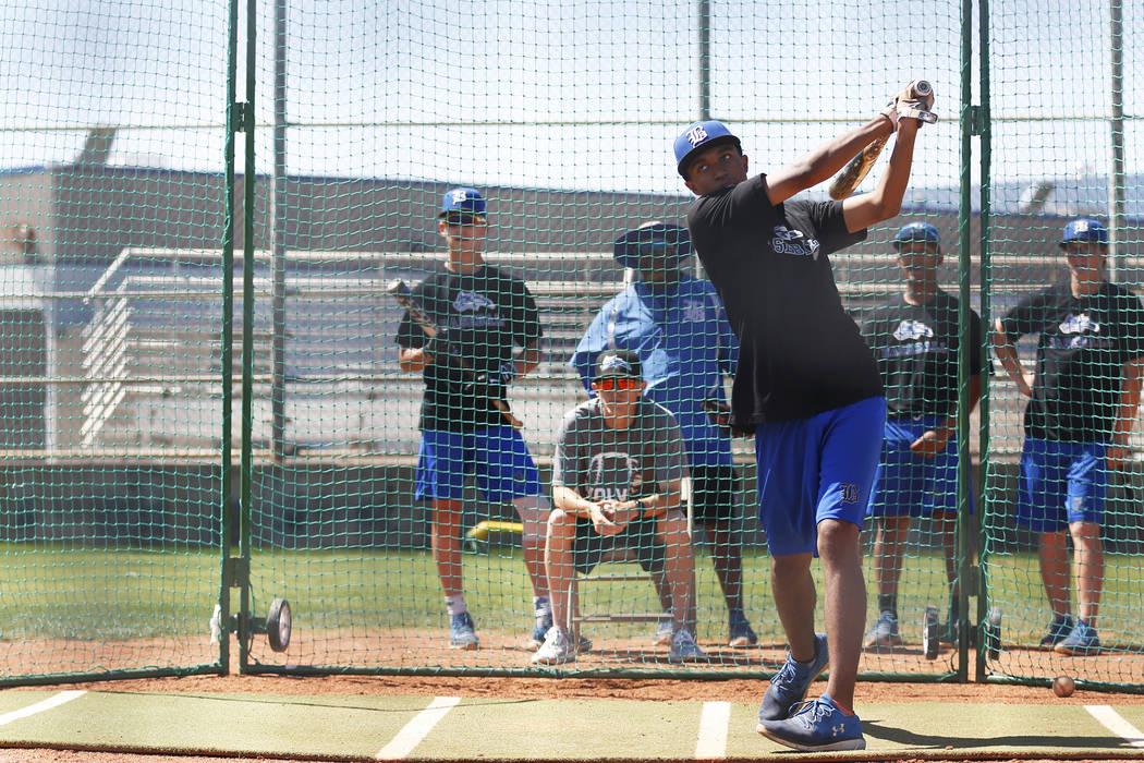 Basic's Garrett Giles practices his swings during baseball practice at Basic High School in Henderson, Nevada on Tuesday, May 15, 2018. Andrea Cornejo Las Vegas Review-Journal @dreacornejo