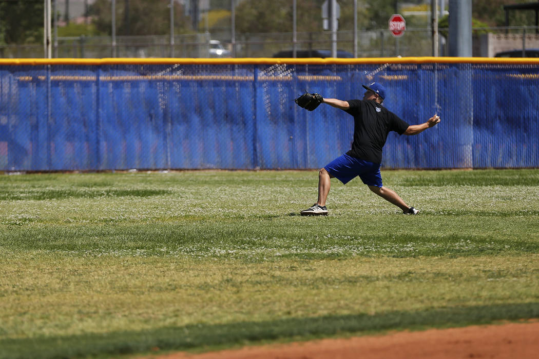 Basic's C.J. Dornak practices his pitch during baseball practice at Basic High School in Henderson, Nevada on Tuesday, May 15, 2018. Andrea Cornejo Las Vegas Review-Journal @dreacornejo