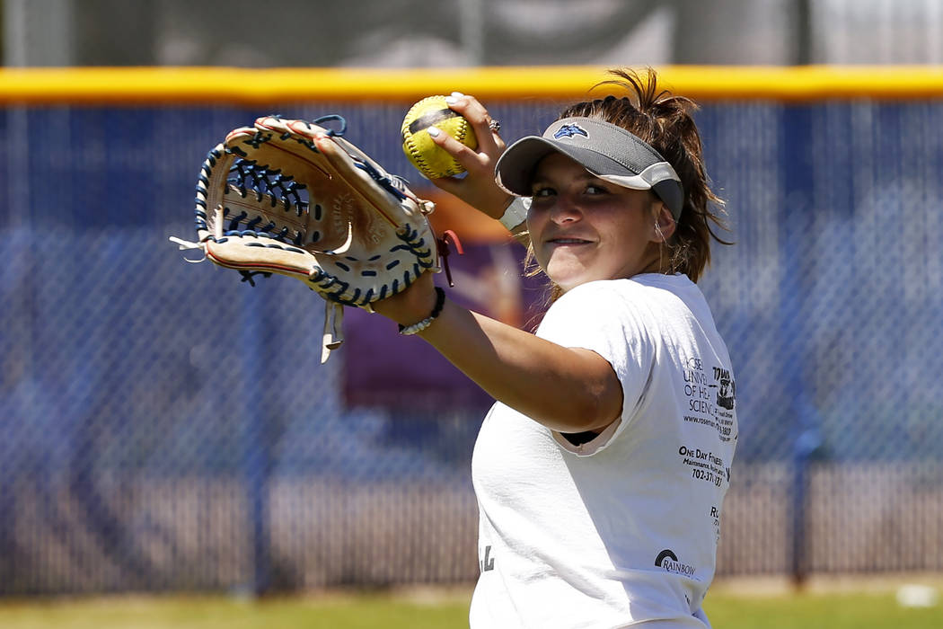 Basic's Angela Santillanes warms up during softball practice at Basic High School in Henderson, Nevada on Tuesday, May 15, 2018. Andrea Cornejo Las Vegas Review-Journal @dreacornejo
