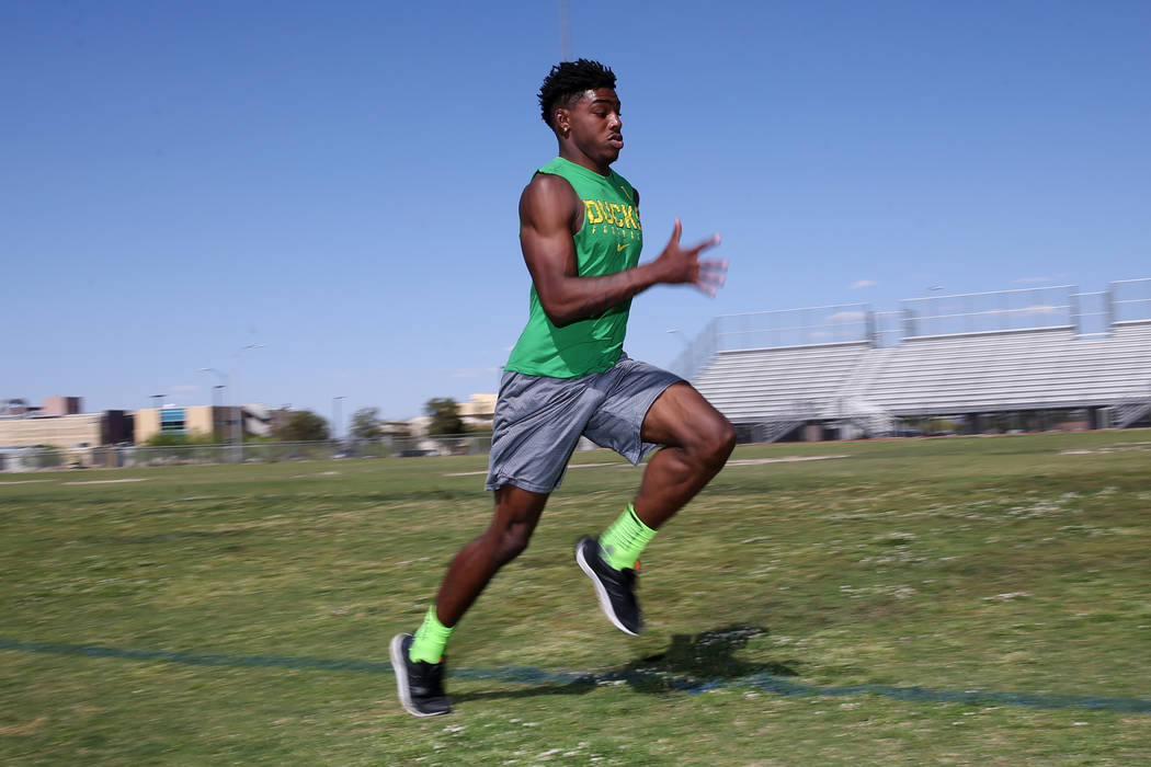 Bonanza senior sprinter Joey Fox, the fastest 100-meter runner in Nevada, at Bonanza High School in Las Vegas, Wednesday, May 16, 2018. Erik Verduzco Las Vegas Review-Journal @Erik_Verduzco