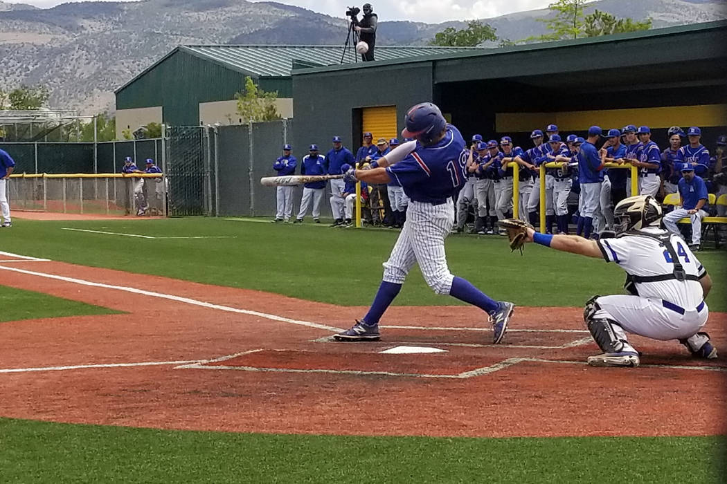 Reno's Mickey Coyne fouls ff a pitch against Basic in the Class 4A state baseball tournament on Thursday, May 17, 2018 at Bishop Manogue in Reno. Reno defeated Basic, 1-0. (Damon Seiters/Las Vegas ...
