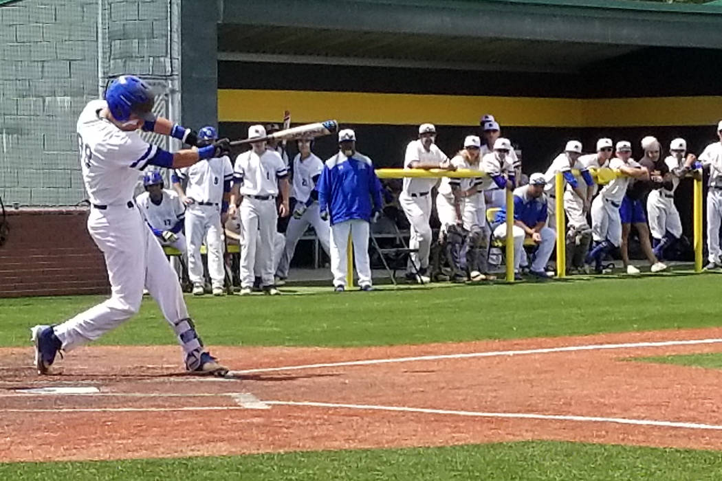 Basic's John Howard Bobo takes a swing against Reno in the Class 4A state baseball tournament on Thursday, May 17, 2018 at Bishop Manogue in Reno. Reno defeated Basic, 1-0. (Damon Seiters/Las Vega ...