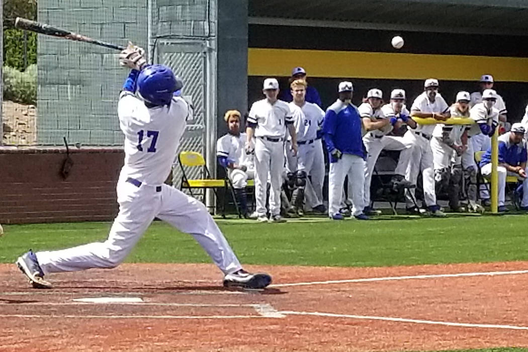 Basic's Garrett Giles fouls off a pitch against Reno in the Class 4A state baseball tournament on Thursday, May 17, 2018 at Bishop Manogue in Reno. Reno defeated Basic, 1-0. (Damon Seiters/Las Veg ...