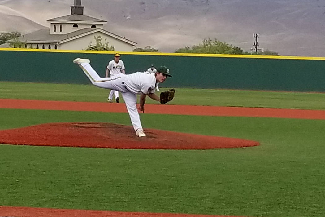 Bishop Manogue's Angelo Reviglio fires a pitch against Palo Verde in the Class 4A state baseball tournament on Thursday, May 17, 2018 at Bishop Manogue in Reno. Palo Verde defeated Manogue, 1-0. ( ...
