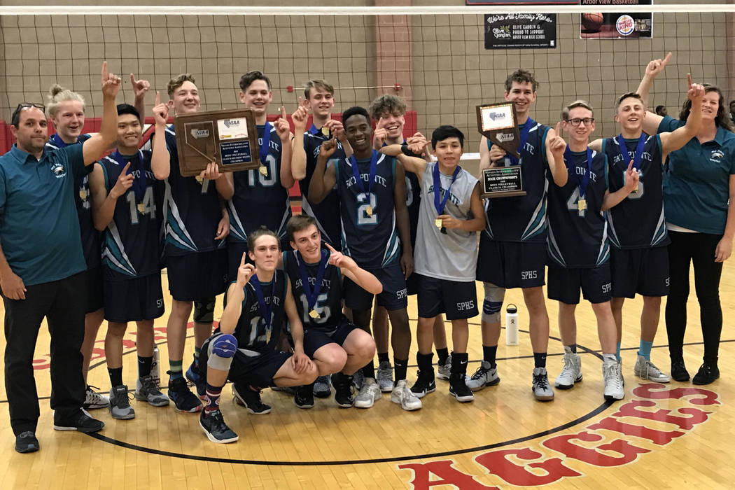 Sky Pointe boys volleyball players pose for a picture after claiming the Class 3A state championship over Mojave at Arbor View High School on Thursday night. Sam Gordon/Review-Journal