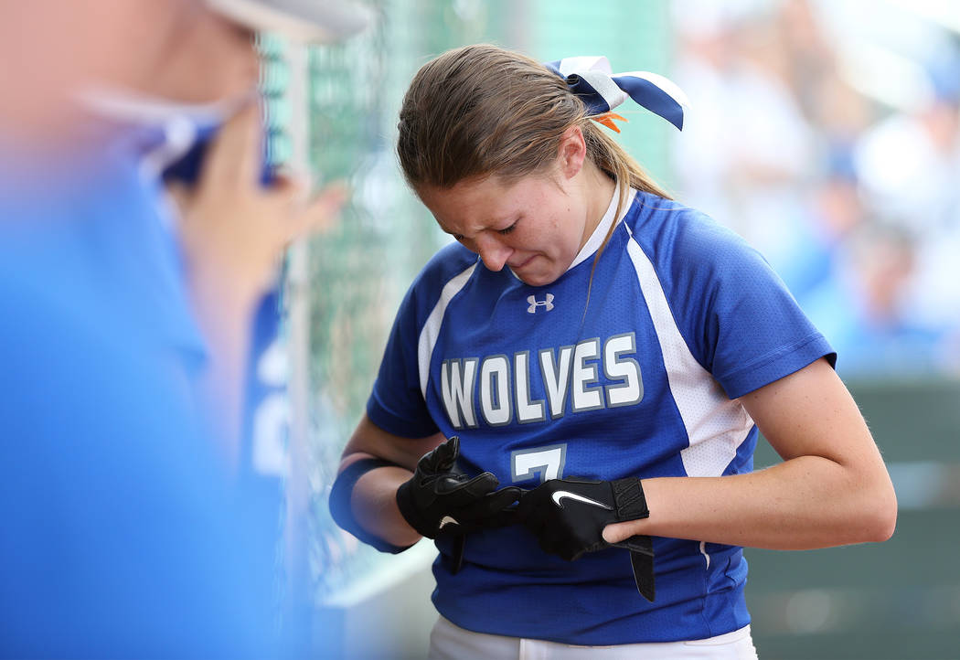 Basic Wolves' Shelby Basso reacts to making the final out against the Douglas Tigers in the NIAA 4A softball tournament, in Reno, Nev., on Thursday, May 17, 2018. Douglas won 8-5. Cathleen Allison ...
