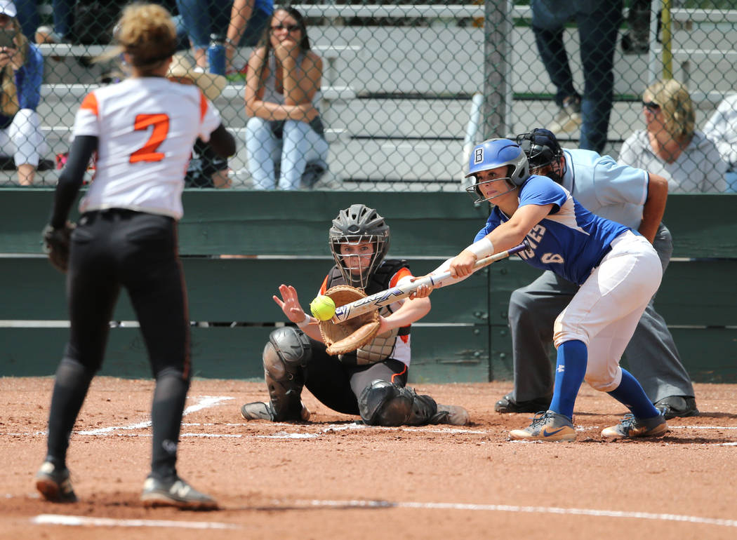 Basic Wolves' Angela Santillanes hits against the Douglas Tigers during the NIAA 4A softball tournament, in Reno, Nev., on Thursday, May 17, 2018. Douglas won 8-5. Cathleen Allison/Las Vegas Revie ...