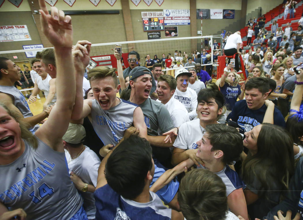 Centennial players and students celebrate their defeat over Foothill in the Class 4A state volleyball championship match at Arbor View High School in Las Vegas on Thursday, May 17, 2018. Chase Ste ...