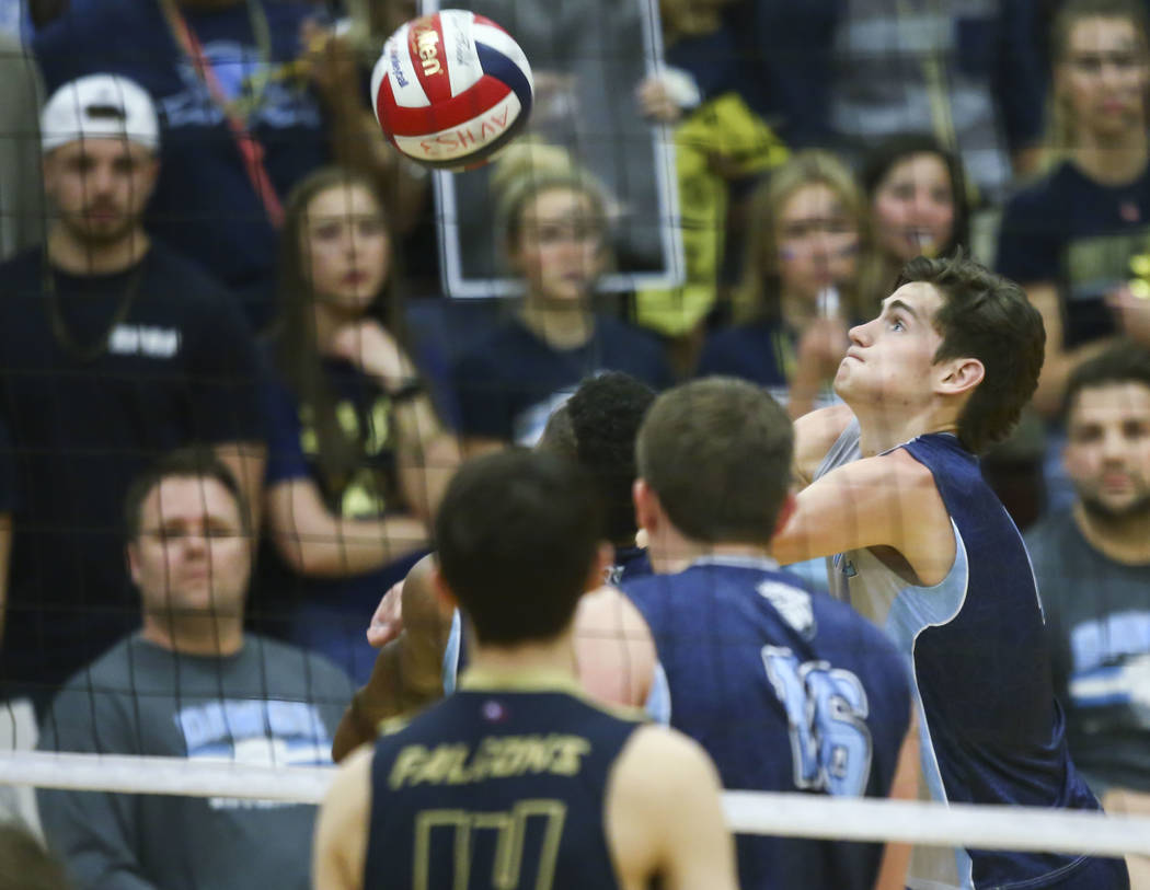 Centennial's Sam Durkin (4) goes for the ball during the second set of the Class 4A state volleyball championship match against Foothill at Arbor View High School in Las Vegas on Thursday, May 17, ...