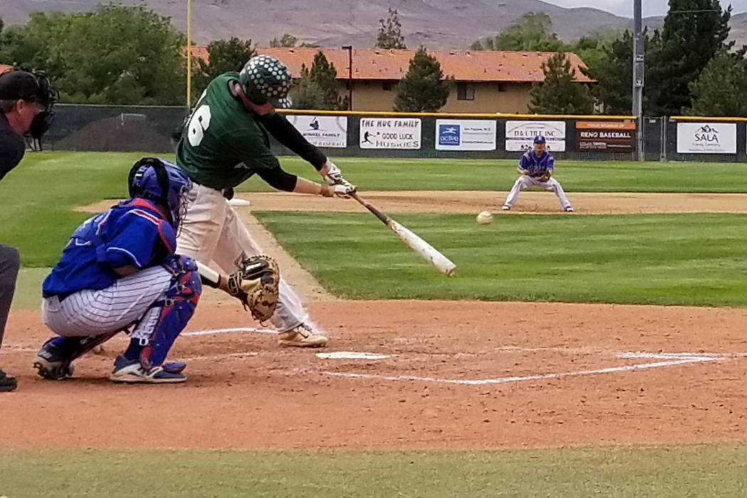 Palo Verde's Jossiah Cromwick delivers an RBI double against Reno in the Class 4A state baseball tournament on Friday, May 18, 2018 at Reno High. Palo Verde won 5-2. (Damon Seiters/Las Vegas Revie ...