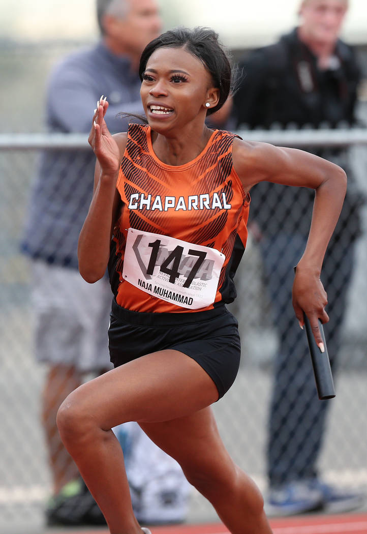 Chaparralճ Naja Muhammad runs the 3A 4x200 relay at the NIAA Track & Field Championships at Carson High in Carson City, Nev., on Friday, May 18, 2018. Cathleen Allison/Las Vegas Review-J ...