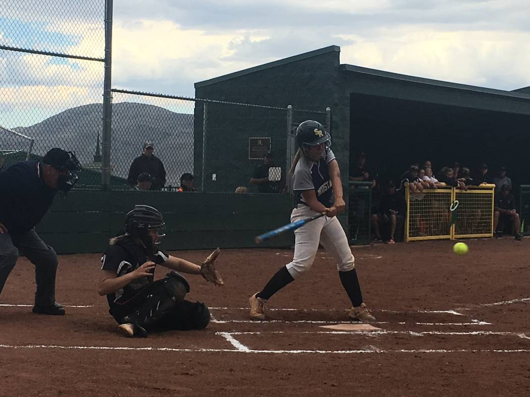 Shadow Ridge's Caitlyn Covington swings at a pitch from Douglas in a Class 4A state softball tournament game at Bishop Manogue High School in Reno on May 18, 2018. Justin Emerson/Las Vegas Review- ...