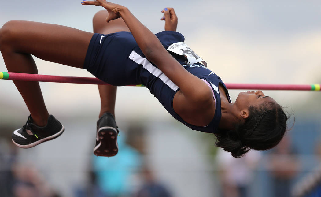 Centennial's Anyese James-Kirkland competes in the high jump at the NIAA Track & Field Championships at Carson High in Carson City, Nev., on Friday, May 18, 2018. Cathleen Allison/Las Vegas Re ...
